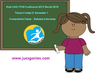 Contoh Soal UAS/ PAS K13 Kelas 4 Semester 1 Tema 4 KD Bahasa Indonesia