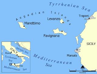 Aegadian Islands map, Sicily