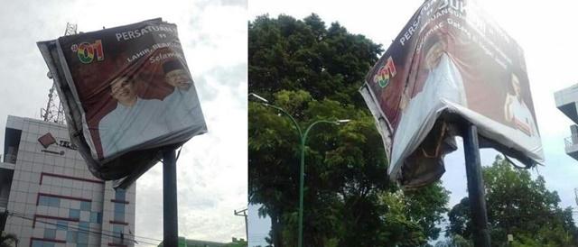 Baliho Jokowi di Jambi Nyaris Patah Dilantak Angin, Warganet: Tanda-tanda Alam