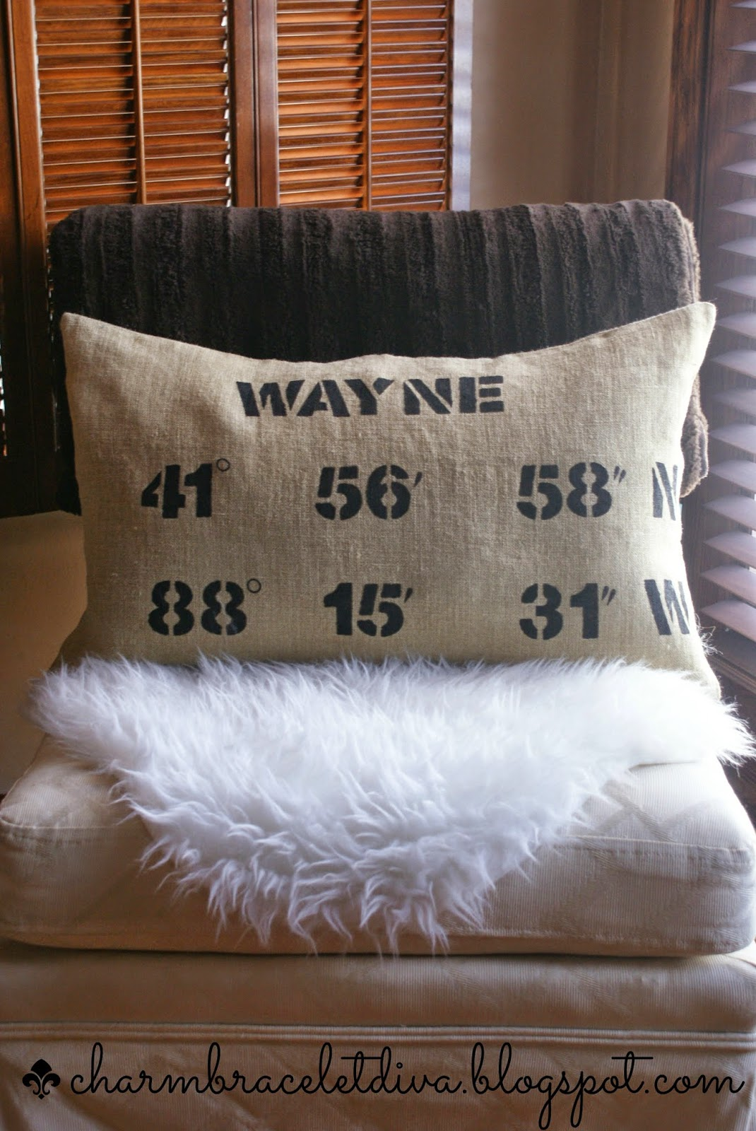 map coordinates pillow, longitude and latitude pillow on chair