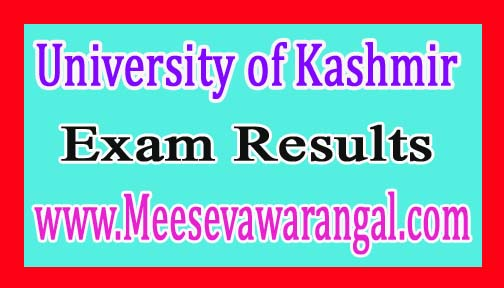 University of Kashmir B.Tech Vth Sem April/May 2016 Exam Results