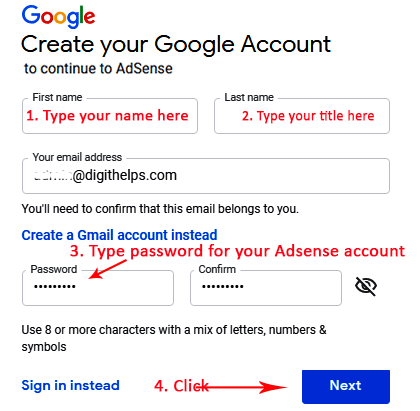 Adsense account creation steps
