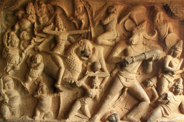 Large panel of goddess Durga slaying the buffalo headed Mahishasura