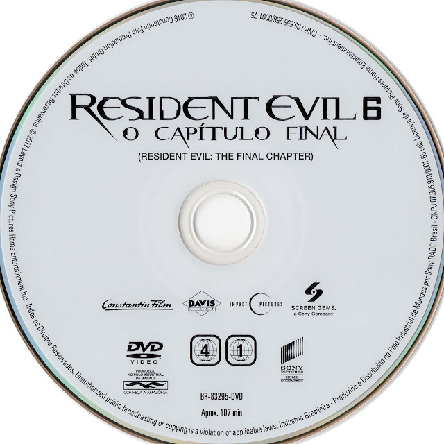 Label DVD Resident Evil 6 O Capítulo Final (Oficial)