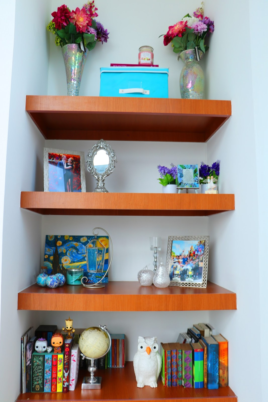 Cute and colorful shelf decor