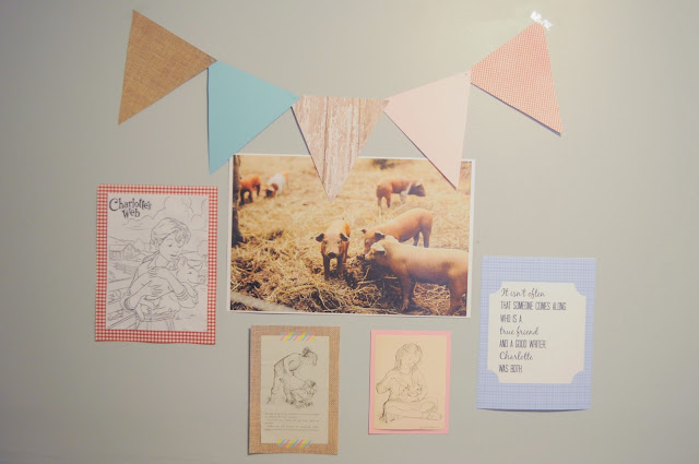 Charlotte's Web themed gallery wall for a Charlotte's Web birthday party