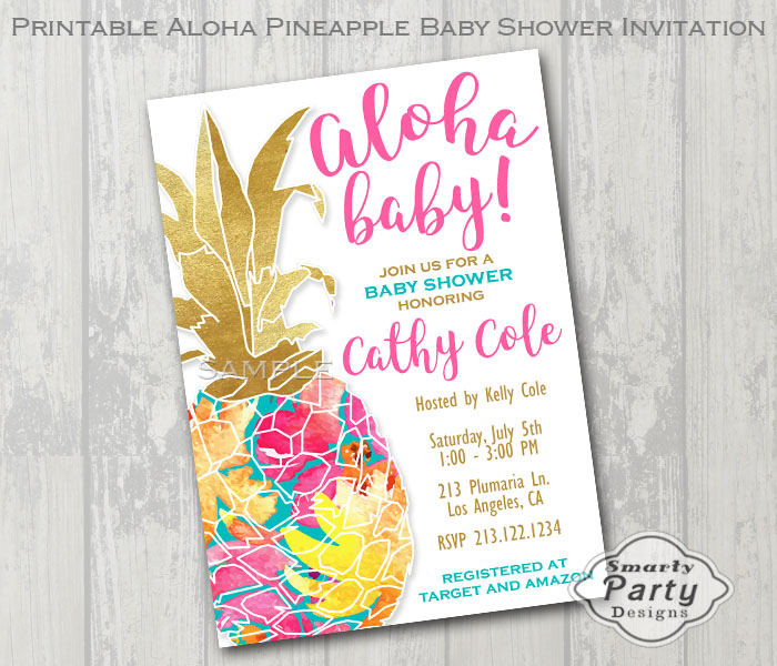 Aloha Pineapple Baby Shower Invitations | Luau Invite - Smarty Party
