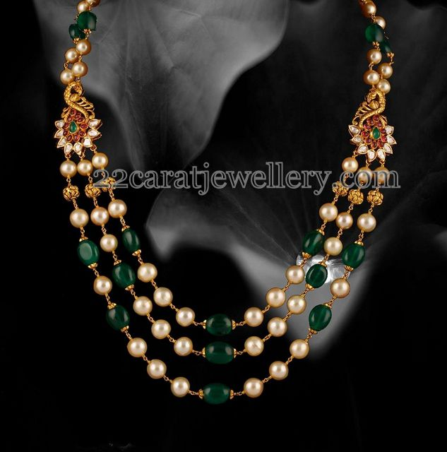 Emerald Pearls Triple Layer Chain