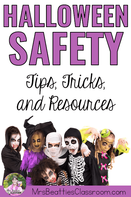 "Picture of kids in Halloween costumes with text, ""Halloween Safety: Tips, Tricks and Resources."""
