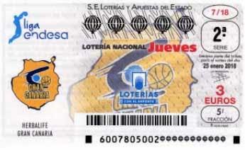 decimos de lotería dedicados al Herbalife Gran Canaria el  jueves