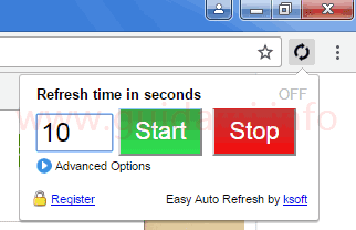 Pulsante Easy Auto Refresh estensione per Chrome