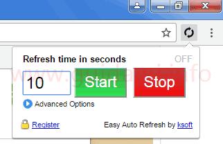Pulsante Easy Auto Refresh estensione per Chrome