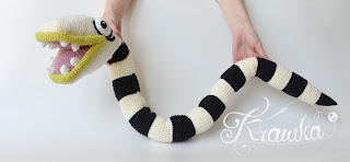 Krawka: Nightmare the creepy cute Halloween snake crochet pattern by Krawka -Beetlejuice sandworm inspired,