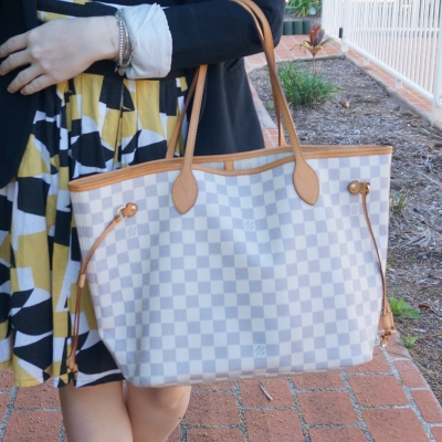 mustard printed a-line skirt with Louis Vuitton damier azur MM neverfull bag | awayfromtheblue
