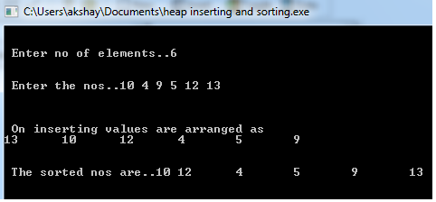 heap sort in c