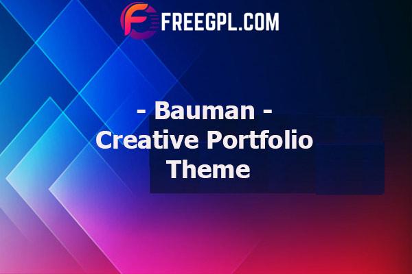 Bauman - Creative Portfolio Theme Nulled Download Free