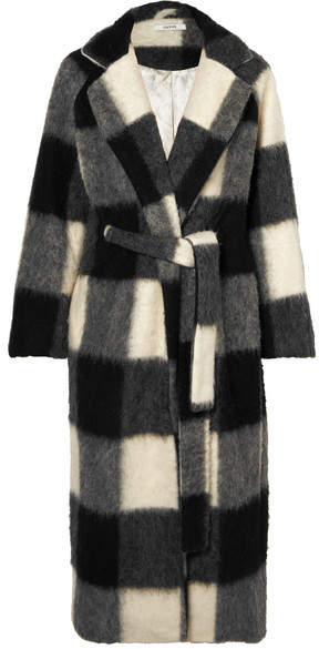 GANNI - Mckinney Checked Brushed-felt Coat –Gray