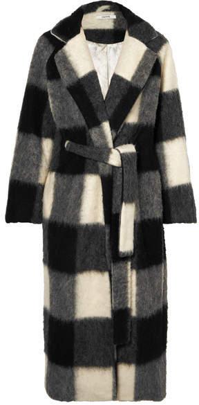 GANNI - Mckinney Checked Brushed-felt Coat –Gray