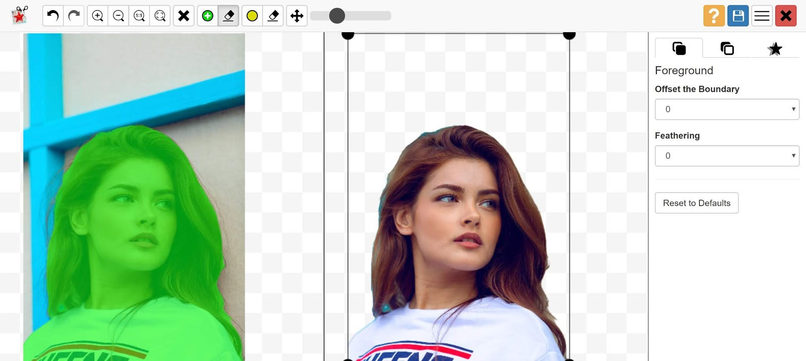 photo scissors automatically removes background from image