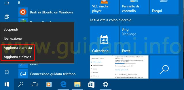 Windows 10 opzioni Aggiorna e arresta o Aggiorna e riavvia
