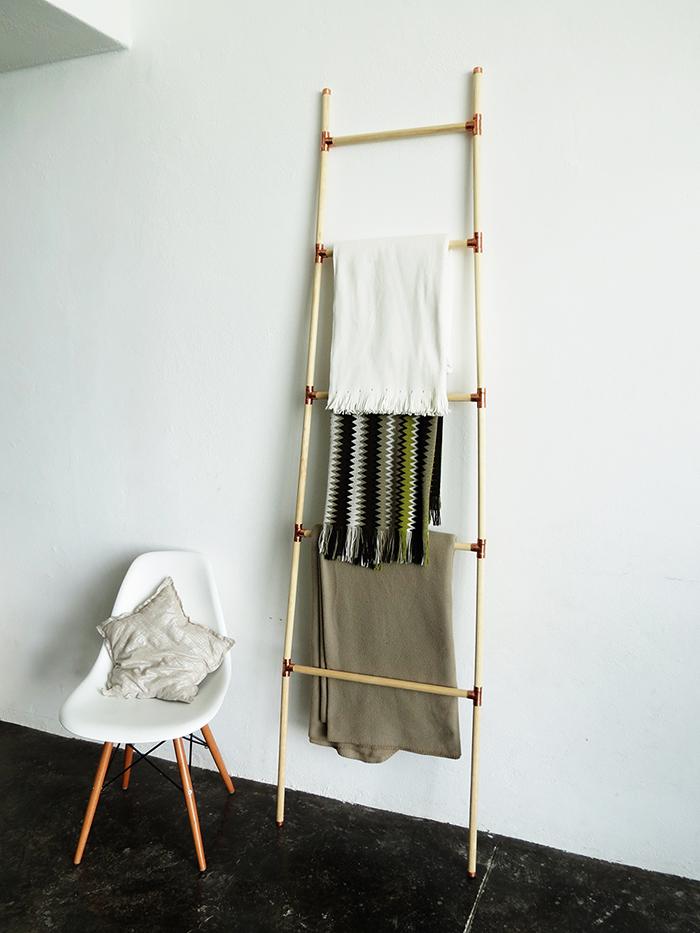 Diy Wooden And Copper Blanket Ladder Ohoh Blog