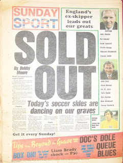 Backpage of first edition of Sunday Sport newspaper 14-September-1986