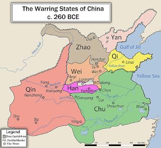Mapa antigua China - Período de los Reinos Combatientes