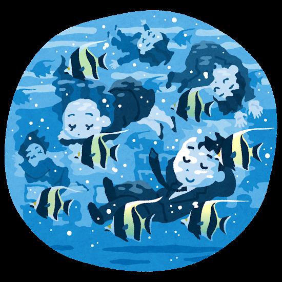 水の中で眠る会社員たちのイラスト