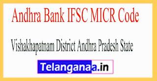 Andhra Bank IFSC MICR Code Vishakhapatnam District Andhra Pradesh State