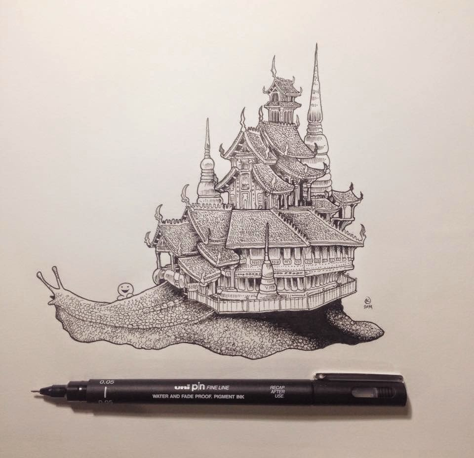 18-Snail-Temple-Kerby-Rosanes-Detailed-Moleskine-Doodles-Illustrations-and-Drawings-www-designstack-co