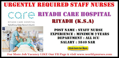 Urgently Required Staff Nurses Riyadh Care Hospital Riyadh (K.S.A)