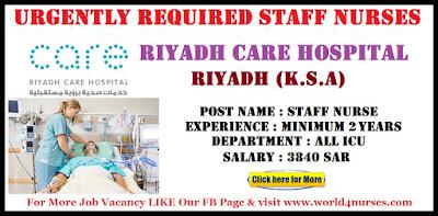 Urgently Required Staff Nurses Riyadh Care Hospital Riyadh (K.S.A)
