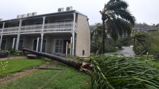 "Thousands shelter as ""screaming, howling"" Cyclone Debbie hits north Australia"