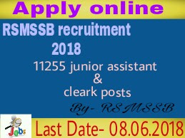 RSMSSB recruitment 2018 for 11255 junior Assistant and clerk posts