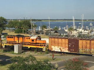 view of train from hotel window at Amelia Island