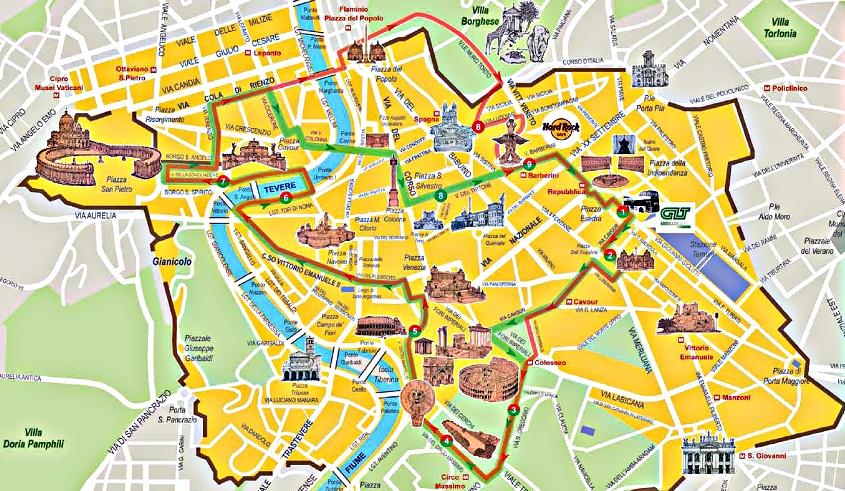mapa turistico da cidade de roma Passeio de ônibus turístico em Roma | Dicas da Itália mapa turistico da cidade de roma