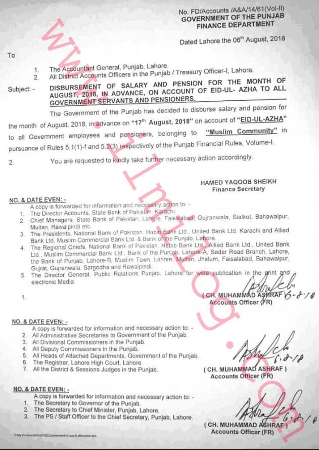 Punjab Government Notification of Advance Salary on Eid Ul Azha 2018