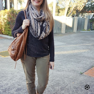 awayfromtheblue instagram SAHM style black tee olive skinny cargo pants paisley print scarf