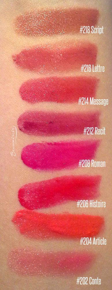 Swatches of all shades of new Chanel Rouge Coco Stylo Lipshine lipstick