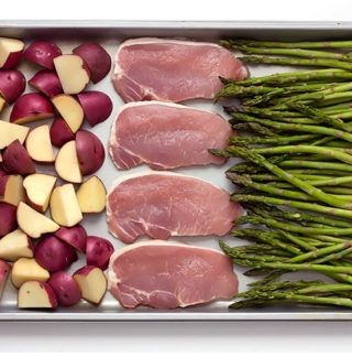 Sheet Pan Baked Parmesan Pork Chops Potatoes & Asparagus Recipe