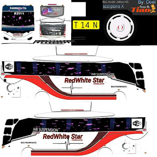 Download Livery Bus RedWhite Star