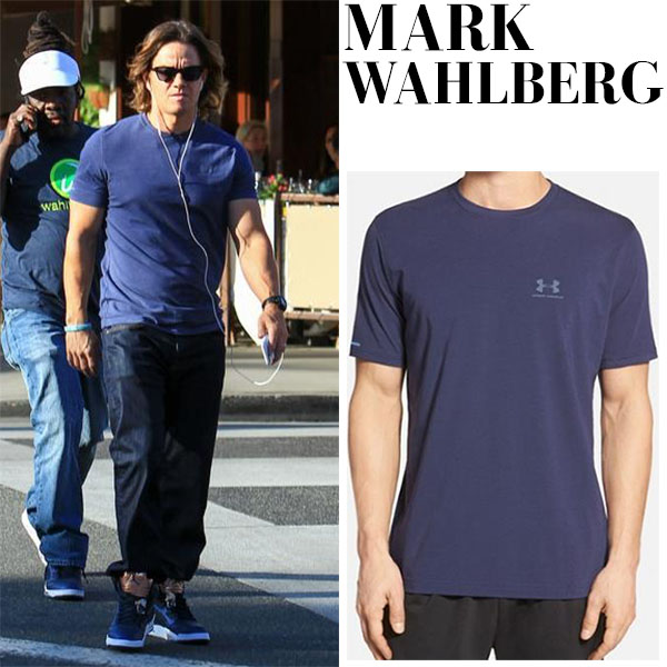 Mark Wahlberg in blue t-shirt, jeans and Nike sneakers