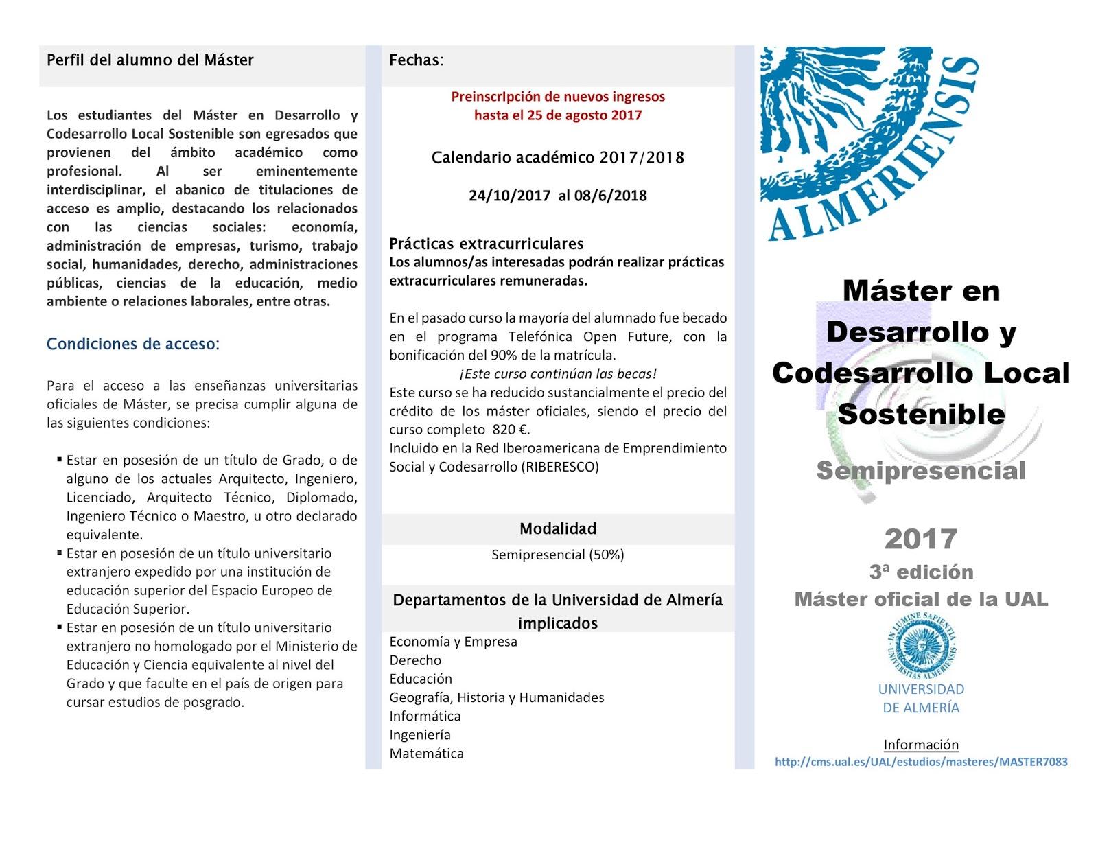 Calendario Ual.Orienta Sue Master Universitario En Desarrollo Y Codesarrollo Local