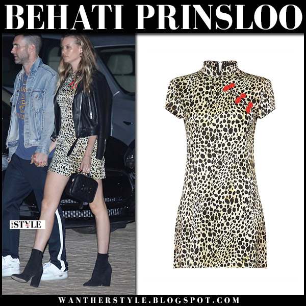 Behati Prinsloo in leopard print mini dress de la vali and boots model style august 9