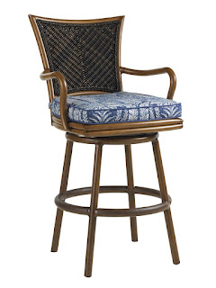 Baers Island Estate Lanai Outdoor Woven Wicker Swivel Bar Stool