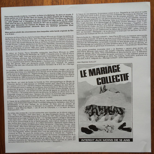 As a film, Le Mariage Collectif will probably not be remembered by history,  a fact even admitted by the press release for its soundtrack.
