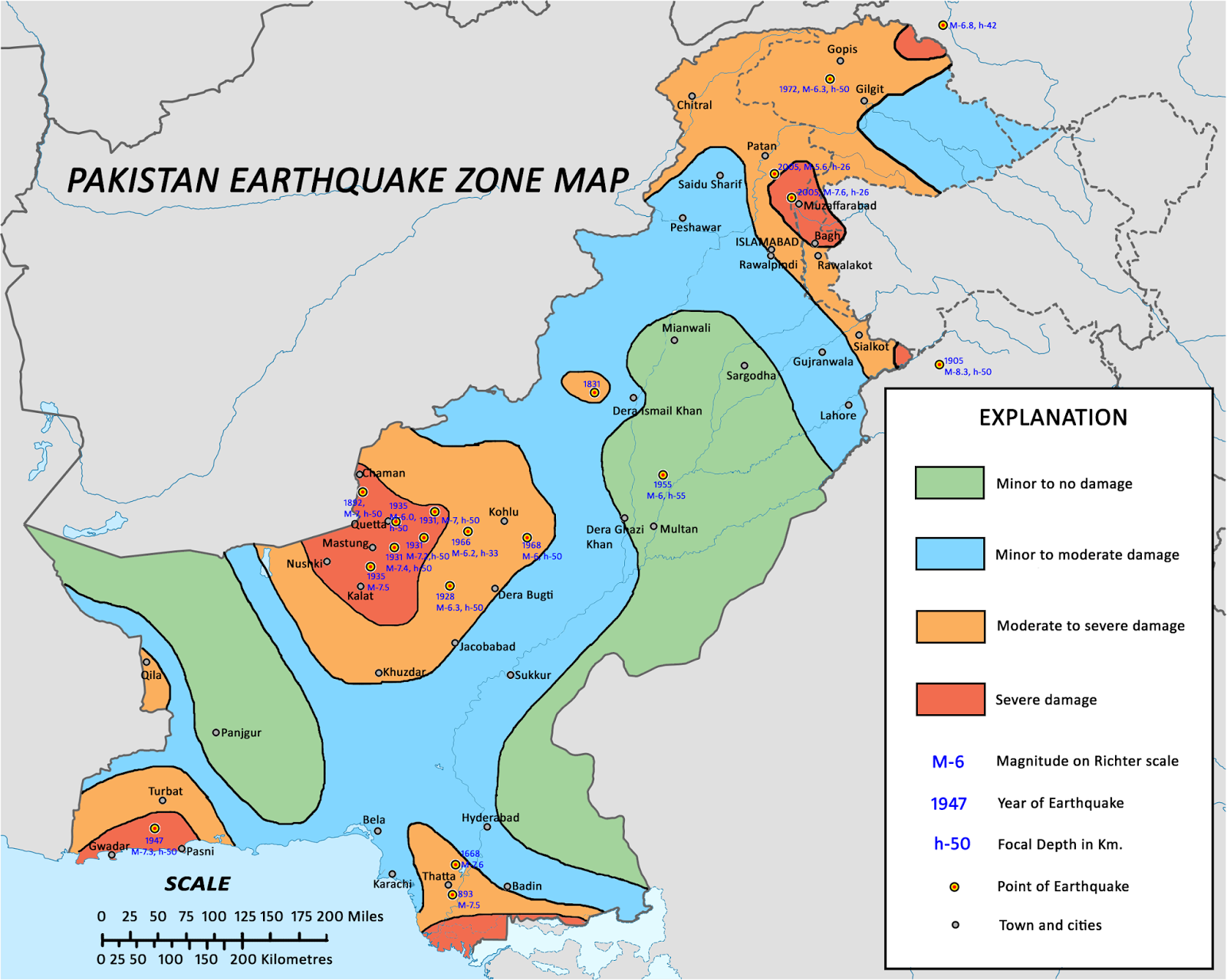 Figure 2: Seismic zoning map of Pakistan