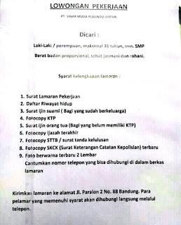 Lowongan Kerja PT Sinar Mulia Plasindo Lestari Terupdate 2019