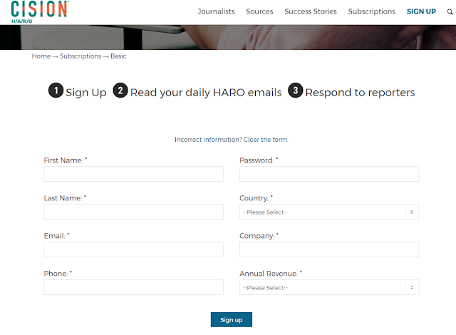 Basic Subscription Sign Up Form of HARO