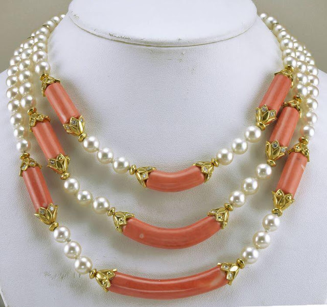 Pearls and Coral Beads Necklaces